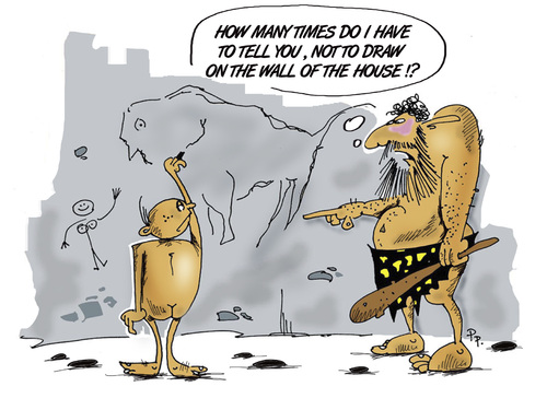 Cartoon: Neanderthals (medium) by paraistvan tagged neanderthal,drawing,cave,kid,home