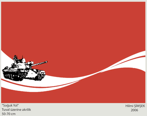Cartoon: cold road (medium) by Hilmi Simsek tagged cola,tank,road