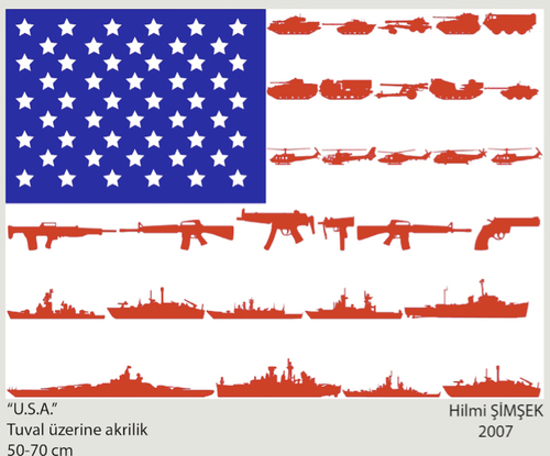 Cartoon: USA Flag (medium) by Hilmi Simsek tagged usa,flag,amerika,gun,star