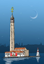 Cartoon: BRIDGE ISTANBUL (small) by Hilmi Simsek tagged istanbul,girls,galata,tower,obelisk