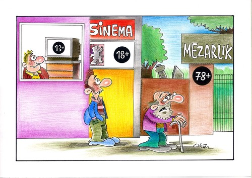 Cartoon: ARTI 78 (medium) by cihandemirci tagged mezarlik,cihan,demirci,karikatur,sinema,televizyon