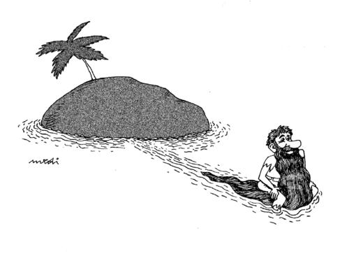 Cartoon: chin rescue (medium) by Medi Belortaja tagged crusoe,robinson,traveling,salvation,beard,humor