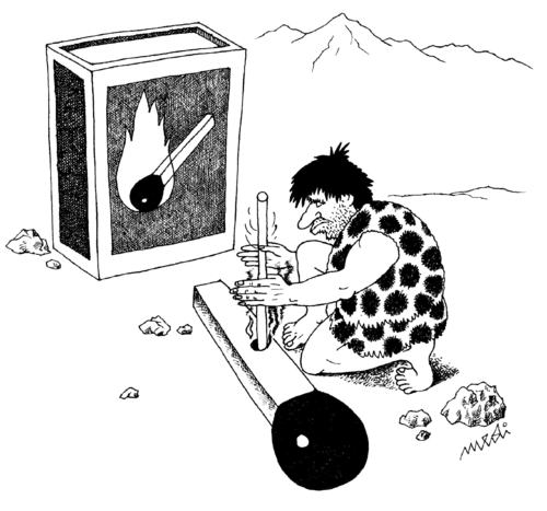 Cartoon: primitive man draws fire (medium) by Medi Belortaja tagged fire,draws,man,primitive,match