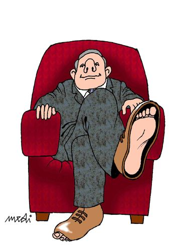 Cartoon: boss (medium) by Medi Belortaja tagged poverty,poor,chief,shoes,financial,crissis,economy
