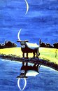 Cartoon: cow reflection in lake (small) by Medi Belortaja tagged cow horns moon night water