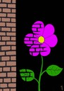 Cartoon: flower near wall (small) by Medi Belortaja tagged flower nature wall environment bricks