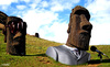 Cartoon: head and bodyguard (small) by Medi Belortaja tagged head,chief,bodyguard,speak,speech,microphone,easter,island,statues