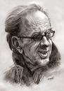 Cartoon: Ismail Kadare (small) by Medi Belortaja tagged ismail,kadare,albanian,writer,literature