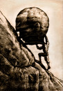 Cartoon: sisyphus (small) by Medi Belortaja tagged sisyphus,man,failure,head,stone,boulder