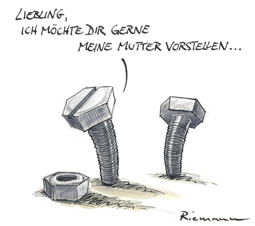 Cartoon: Mutter (medium) by Riemann tagged frau,mann,beziehung,mutter,schraube,werkzeug,handwerker,cartoon,george,riemann