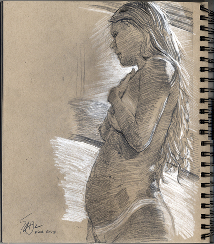 Cartoon: Model Becca (medium) by halltoons tagged figure,drawing,model,female,nude