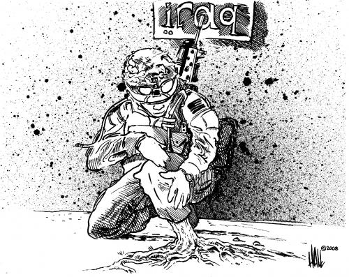 Cartoon: Rooted (medium) by halltoons tagged iraq,war,usa,united,states,soldiers