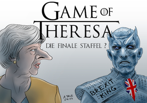 Cartoon: Game of Theresa (medium) by A Tale tagged theresa,may,brexit,großbritannien,verlängerung,aufschub,eu,austritt,unendliche,geschichte,uneinig,kompromisslos,verhandlungen,game,of,thrones,start,finale,achte,staffel,hype,populär,nachtkönig,nightking,serie,tv,politik,karikatur,cartoon,pressezeichnung,illustration,tale,agostino,natale,theresa,may,brexit,großbritannien,verlängerung,aufschub,eu,austritt,unendliche,geschichte,uneinig,kompromisslos,verhandlungen,game,of,thrones,start,finale,achte,staffel,hype,populär,nachtkönig,nightking,serie,tv,politik,karikatur,cartoon,pressezeichnung,illustration,tale,agostino,natale