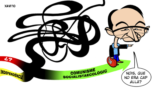 Cartoon: Joan Herrera es queda sol (medium) by Xavi Caricatura tagged joan,herrera,generalitat,catalunya,spain,politics