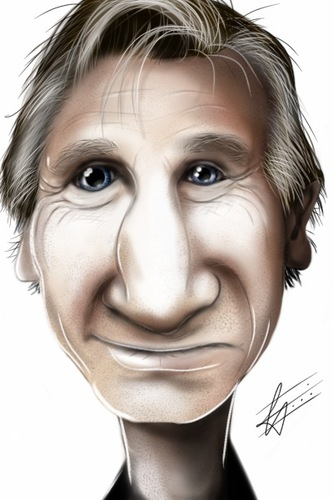 Cartoon: Liam Neeson (medium) by cesar mascarenhas tagged liam,neeson,caricature,ipod,touch,sketchbook,mobile,fingerpaint