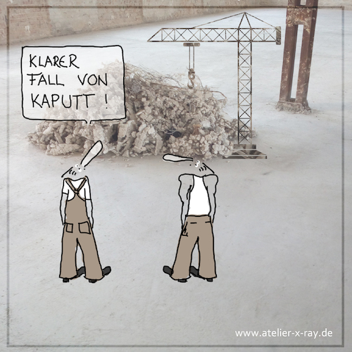 Cartoon: Klarer Fall von kaputt (medium) by kika tagged architektur,bauen,baustelle