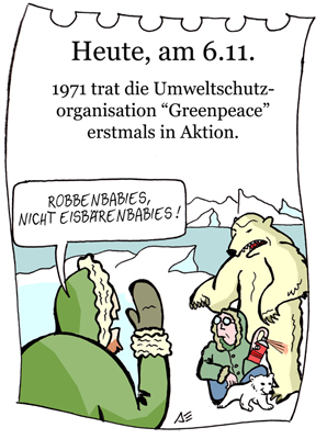 Cartoon: 6. November (medium) by chronicartoons tagged greenpeace,arktis,eisbär,umweltschutz,cartoon