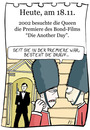Cartoon: 18. November (small) by chronicartoons tagged queen,elisabeth,james,bond,007,england,cartoon