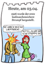 Cartoon: 3. April (small) by chronicartoons tagged strumpf,laufmasche,ohrfeige,cartoon