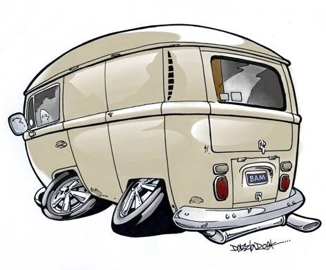 Cartoon: Panel van (medium) by Darrell tagged panel,van,vw,cartoon,caricature,dazzlarock