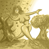 Cartoon: Unfaithful by nature (small) by Abe tagged woman,nude,unfaithful,naked,breasts,tree,dark,light,sepia,love,happy,free,run
