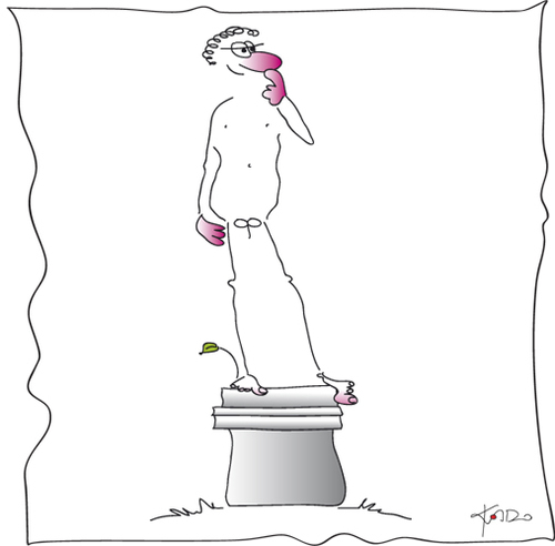 Cartoon: David (medium) by KADO tagged akt,kado,michelangelo,david,renaissance
