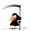 Cartoon: Der Schnitter - Grim Reaper (small) by KADO tagged draw,zeichnen,art,kunst,styria,graz,steiermark,austria,illustration,cartoon,spass,humor,comic,kalcher,dominika,kadocartoons,kado,vogel,bird,animal,crow,krähe,sensenmann,schnitter,grim,reaper,death,tod
