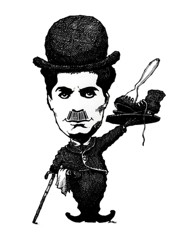 Cartoon: Chaplin (medium) by janjicveselin tagged charlie,chaplin,comedies,financial,crisis,bar,cod,film,mustache