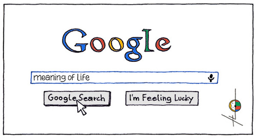 Cartoon: Searching f. the meaning of life (medium) by badham tagged meaning,of,life,sinn,des,lebens,sinnsuche,google,search