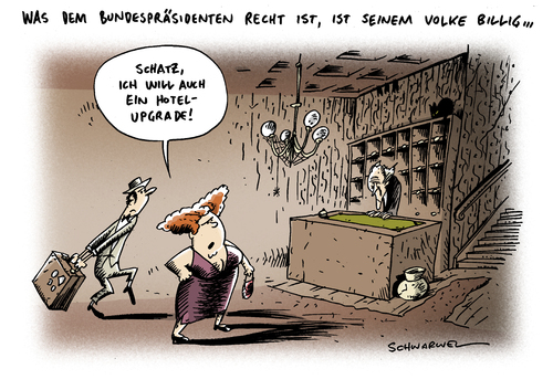 Cartoon: Wulff Hotel Upgrade (medium) by Schwarwel tagged bundespräsident,wulff,ministerpräsident,hotel,upgrade,oktoberfest,geld,finanzen,bestechung,karikatur,schwarwel,volk,politik,bundespräsident,wulff,ministerpräsident,oktoberfest,finanzen,bestechung