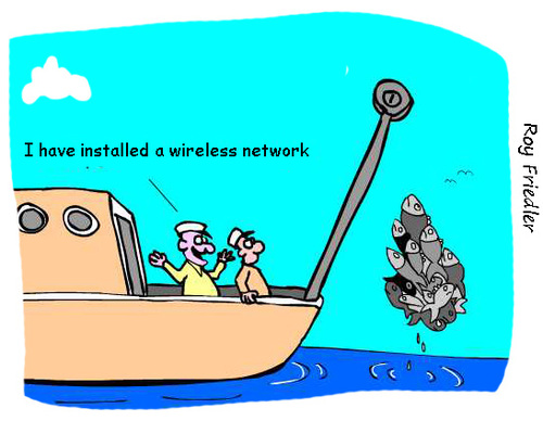 Cartoon: wireless network (medium) by roy friedler tagged fishing,wireless,network