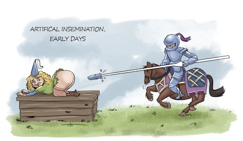 Cartoon: Artifical insemination (medium) by tinotoons tagged artifical,insemination,middle,ages,horse,knight,lance,tino,cartoon