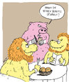 Cartoon: welcome to the jungle (small) by bob tagged löwe,schwein,kellner,ober,gast,restaurant,lokal,essen,jungel,bob,hack,cartoon