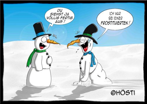 Cartoon: Höstis Die Schneemanns (medium) by Hösti tagged hösti,cartoons,hoesti,stephan,höstermann,schneemann,die,schneemanns,winter,glühwein,frost