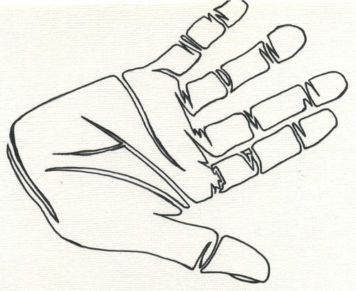 Cartoon: Hand Outline (medium) by claretwayno tagged hand,palm,skin,grip,line,mans