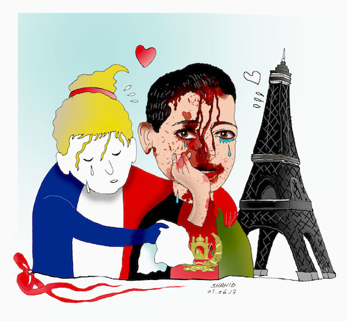 Cartoon: France pays tribute to kabul att (medium) by Shahid Atiq tagged afghanistan,balkh,helmand,kabul,nangarhar,attack