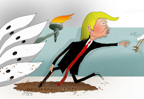 Cartoon: Trump Strategy in Afghanistan! (medium) by Shahid Atiq tagged afghanistan,balkh,helmand,kabul,london,nangarhar,and,ghor,attack