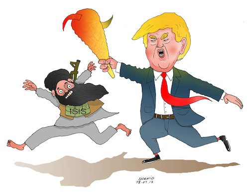 Cartoon: Trump will follow extremism! (medium) by Shahid Atiq tagged trump,afghanistan,safi,shahid,bahar,ieba,rayian,musa,kart,crni