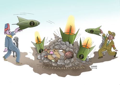 Cartoon: US airstrike (medium) by Shahid Atiq tagged afghanistan,kabul,syria,iran,switzerland,schweiz,usa,france,football,safi,cartooneu,uk,safe,atiq,fara,shahid,nice,caricatue,cartoon,on,entry,raiyan