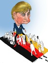 Cartoon: Merkel and Black Refugee ! (small) by Shahid Atiq tagged afghanistan,kabul,syria,iran,switzerland,schweiz,usa,france,football,safi,cartooneu,uk,safe,atiq,fara,shahid,nice
