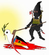 Cartoon: Terror attacks in munich (small) by Shahid Atiq tagged afghanistan,kabul,syria,iran,switzerland,schweiz,usa,france,football,safi,cartooneu,uk,safe,atiq,fara,shahid,nice,munich