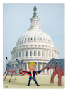 Cartoon: Trump between Senat and Cong.. ! (small) by Shahid Atiq tagged usa