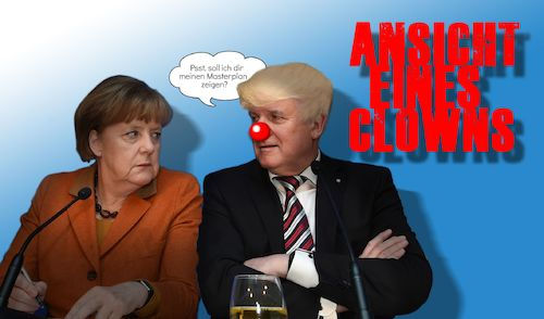Cartoon: Ansichten eines Clöwns (medium) by heschmand tagged seehofer,csu,cdu,merkel,trumpverschnitt,bayer,masterplan