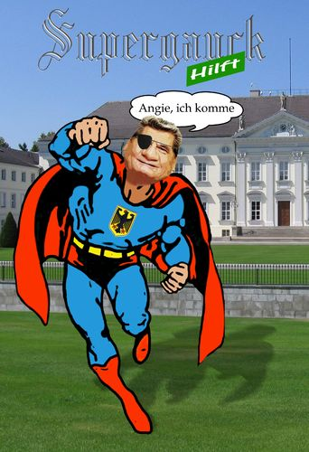 Cartoon: Supergauck hilft (medium) by heschmand tagged gauck,grüne,spd,wahl,bundespräsident