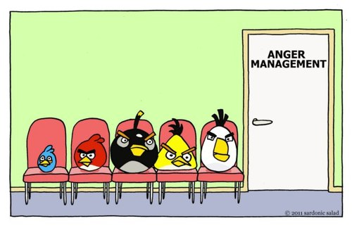 Cartoon: anger management (medium) by sardonic salad tagged salad,sardonic,management,anger,comic,cartoon,gaming,birds,angry