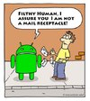 Cartoon: mistaken identity (small) by sardonic salad tagged android,droid,cartoon,comic,mail,postage,sardonic,salad