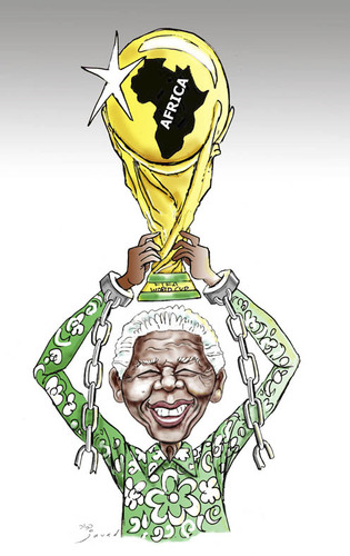 Cartoon: Mandela the real champion .... (medium) by javad alizadeh tagged nelson,mandela,political,prisoner,world,cup,champion,hero