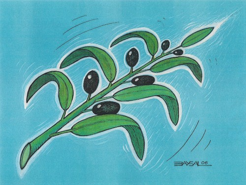 Cartoon: Olive (medium) by ercan baysal tagged pen,image,picture,tattoo,logo,illustration,blue,branch,leaf,green,tree,olive,pencil,coloring,vision,good,tag,job,art,fine,artwork,form,humour,satire,fantasy,ercanbaysal,turkey,turkiye,oil,fruit
