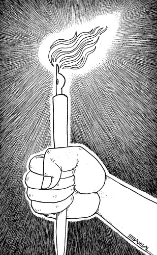 Cartoon: Pen and light (medium) by ercan baysal tagged tattoo,logo,cartoon,design,handmade,life,resistance,magazine,newspaper,drawing,master,favorite,vision,image,picture,job,draw,good,ink,line,torch,hand,light,pen,white,black,illustration,ercanbaysal,turkey,turkiye
