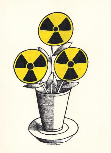 Cartoon: The Flower of Evil (medium) by ercan baysal tagged health,radiation,deadh,atom,technology,yellow,white,black,baudelaire,nuclear,grotesk,vision,favorite,shape,form,magazine,draw,job,good,pencil,pen,flower,turkey,türkiye,ercanbaysal